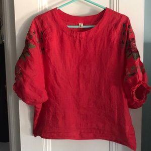 Beautiful linen red summer top